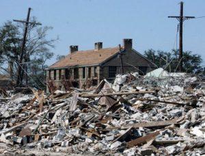 House amidst rubble
